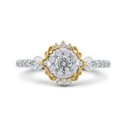 10K Two Tone Gold 5/8 ct Round White Diamond Double Flower Fashion Ring