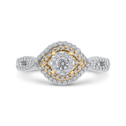 5/8 ct Round Diamond 10K Two Tone Gold Criss-Cross Fashion Ring