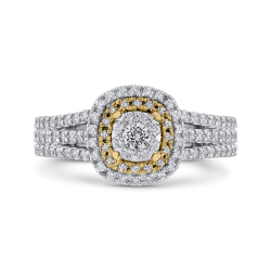 10K Two Tone Gold 1 ct Round White Diamond Fashion Ring