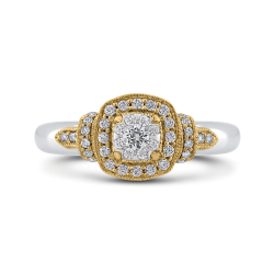 10K Two Tone Gold 1/3 ct Round Diamond Fashion Ring