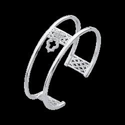 14K White Gold .11 Ct Diamond Lecirque Bangle Bracelet.