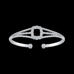 14K White Gold .15 Ct Diamond Lecirque Bangle Bracelet.
