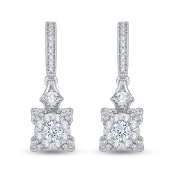 14K White Gold 2/3 Ct Diamond Lecirque Fashion Earrings.