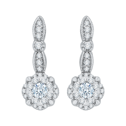 14K White Gold 1  Ct Diamond Lecirque Fashion Earrings.