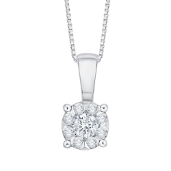 14K White Gold 1/5 Ct Diamond Lecirque Fashion Pendant
