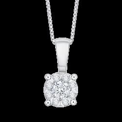 14K White Gold 1/5 Ct Diamond Lecirque Fashion Pendant