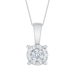 14K White Gold 1/4 Ct Diamond Lecirque Fashion Pendant