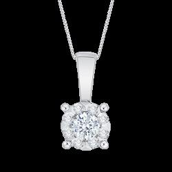 14K White Gold 1/4 Ct Diamond Lecirque Fashion Pendant