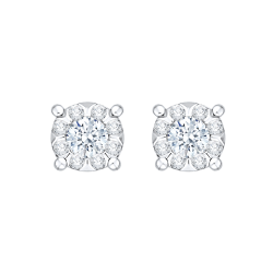 14K White Gold 1/5 Ct Diamond Lecirque Studs Earrings