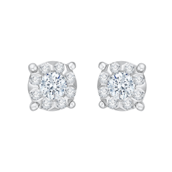 14K White Gold 1/3 Ct Diamond Lecirque Studs Earrings