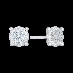 14K White Gold 1/2 Ct Diamond Lecirque Studs Earrings