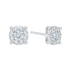14K White Gold 5/8 Ct Diamond Lecirque Studs Earrings