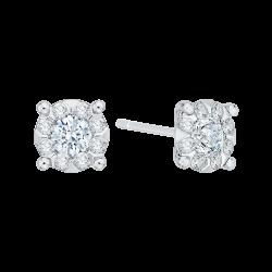 14K White Gold 5/8 Ct Diamond Lecirque Studs Earrings