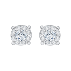 14K White Gold 1 .09 Ct Diamond Lecirque Studs Earrings