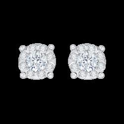 14K White Gold 1 .09 Ct Diamond Lecirque Studs Earrings