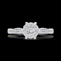 14K White Gold Round & Marquise Diamond Engagement Ring