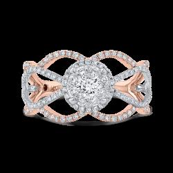 14K Two-Tone Gold Round Diamond Fashion Ring