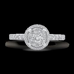 14K White Gold Round Cut Diamond Halo Engagement Ring