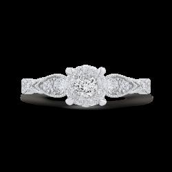 14K White Gold Round Cut Diamond Engagement Ring
