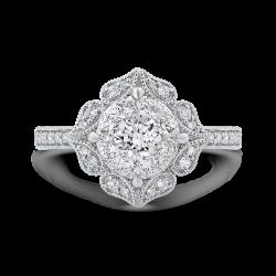 Round Cut Diamond Flower Shape Engagement Ring In 14K White Gold