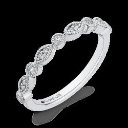 Round Diamond Half-Eternity Wedding Band In 14K White Gold