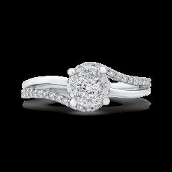 14K White Gold Round Diamond Promise Engagement Ring