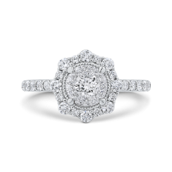 Round Cut Diamond Flower Halo Engagement Ring In 14K White Gold