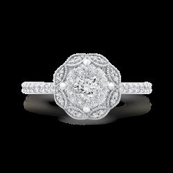 Round Cut Diamond Flower Engagement Ring In 14K White Gold