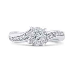Round Cut Diamond Bypass Engagement Ring In 14K White Gold