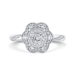 Round Diamond Flower Style Engagement Ring In 14K White Gold