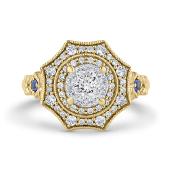 14K Two-Tone Gold Round Diamond Double Halo Engagement Ring with Blue Sapphire