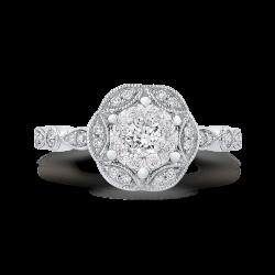 14K White Gold Round Diamond Flower Engagement Ring
