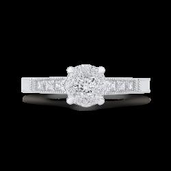 Round & Princess Diamond Engagement Ring In 14K White Gold