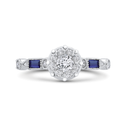 14K White Gold Round Diamond Engagement Ring with Baguette Blue Sapphire