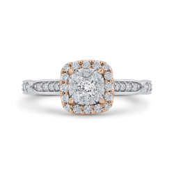 14K Two-Tone Gold Round Cut Diamond Halo Engagement Ring