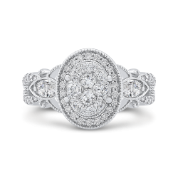 14K White Gold Round Cut Diamond Oval Shape Halo Engagement Ring