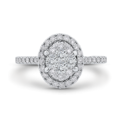 14K Two-Tone Gold Round Cut Diamond Oval Shape Halo Engagement Ring