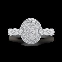 14K White Gold Round Diamond Halo Engagement Ring