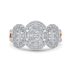 14K Two-Tone Gold Round Diamond Three-Stone Halo Engagement Ring