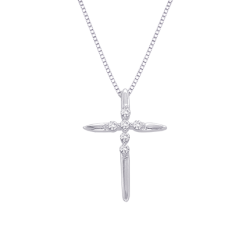 Diamond Cross Pendant with Chain in 10K White Gold (1/10 cttw)