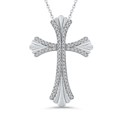 10K White Gold 1/5 Ct Diamond Cross Pendant with Chain
