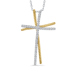 10K White & Yellow Gold 1/5 Ct Diamond Cross Pendant with Chain