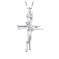 10K White Gold 1/10 Ct Diamond Cross Pendant with Chain
