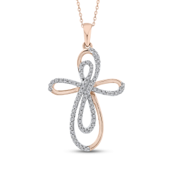 10K Rose Gold 1/4 Ct Diamond Cross Pendant with Chain