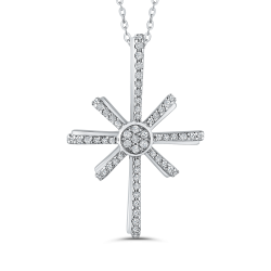 1/4 ct White Diamond Cross Pendant with Chain In 10K White Gold