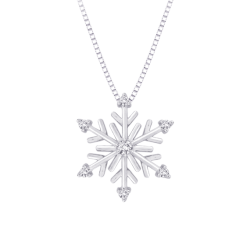 Diamond ''Snow Flake'' Pendant with Chain in Sterling Silver (1/10 cttw)