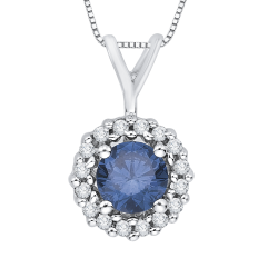 10K White Gold 1/2 ct. Center Blue Diamond Fashion Pendant