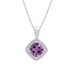 Cushion Cut 2 3/8 ct. Amethyst and Diamond Square Halo Pendant with Chain in Sterling Silver (0.05 cttw)