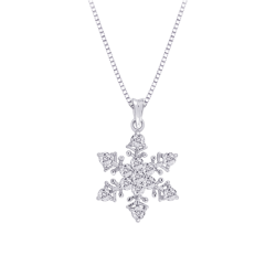 Diamond ''Snow Flake'' Pendant with Chain in Sterling Silver (0.05 cttw)