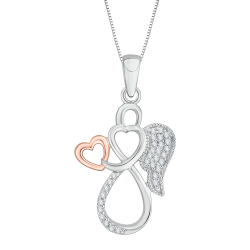 10K White & Rose Gold .11 ct. Diamond Fashion Pendant